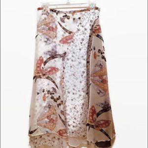 Women's Bloomingdales Silk Print Tiered Midi Skirt